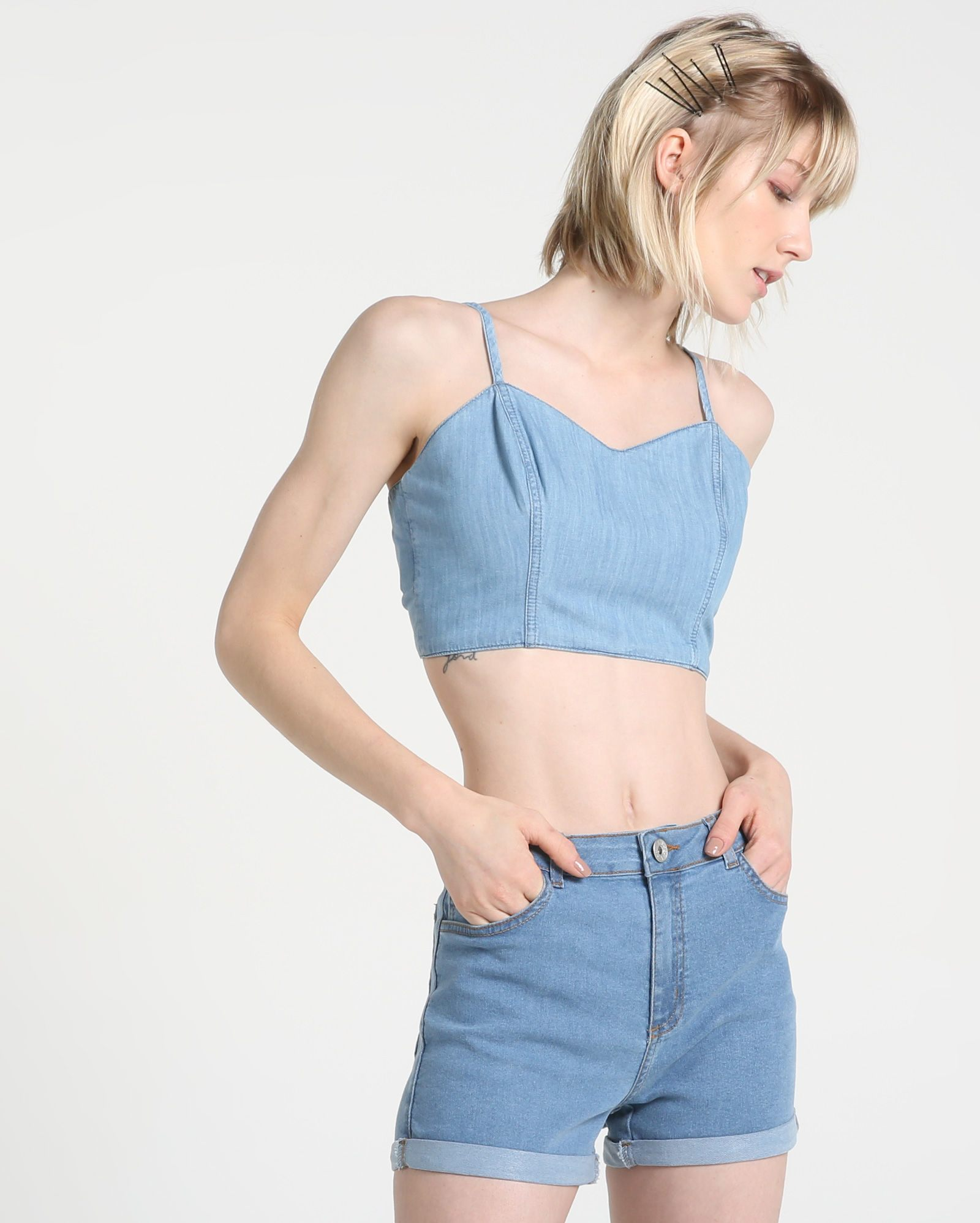 Cropped jeans shorts