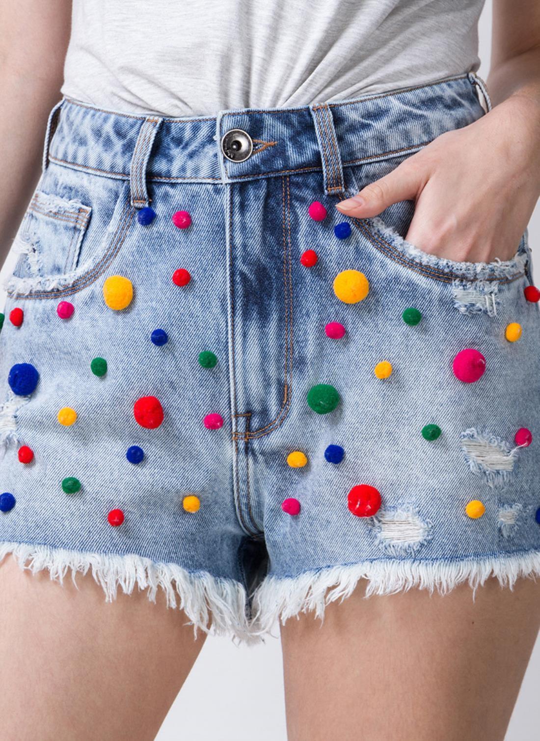 DIY Transformação Shorts pompons