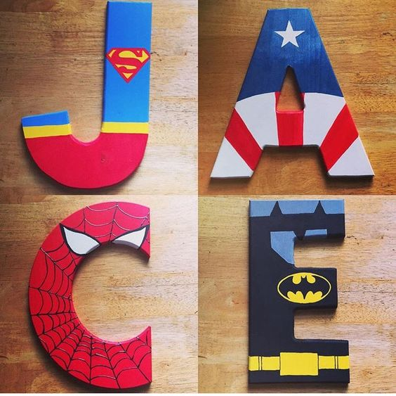 Ideias Decorar Letras MDF super herois