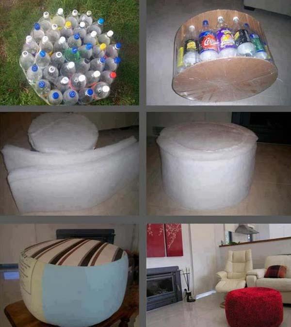 Puffe feito de garrafas pet