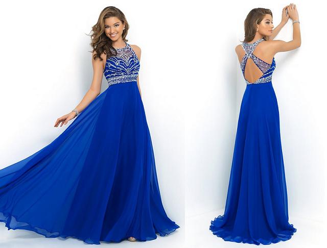 Vestidos para formatura coloridos azul 2