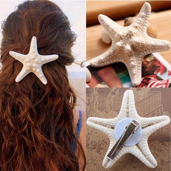 acessorios cabelo conchas mar estrela