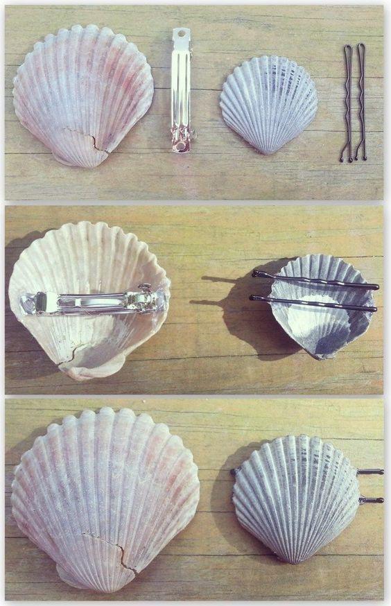 acessorios cabelo conchas mar grampo