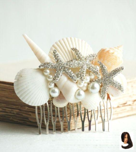 acessorios cabelo conchas mar pente prateado