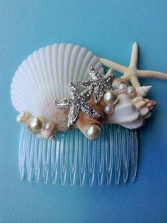 acessorios cabelo conchas mar pente simples