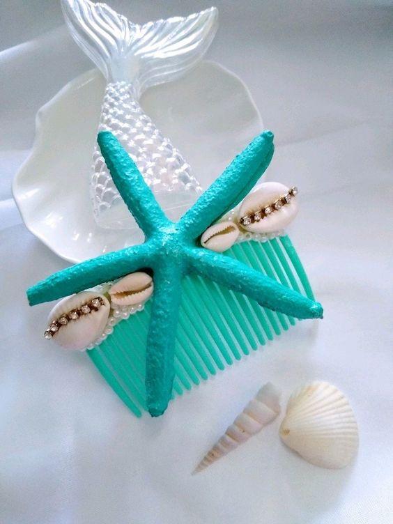 acessorios cabelo conchas mar pente