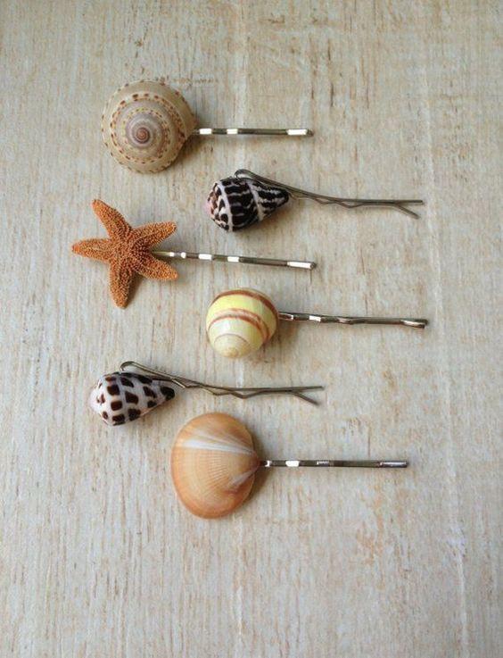 acessorios cabelo conchas mar simples