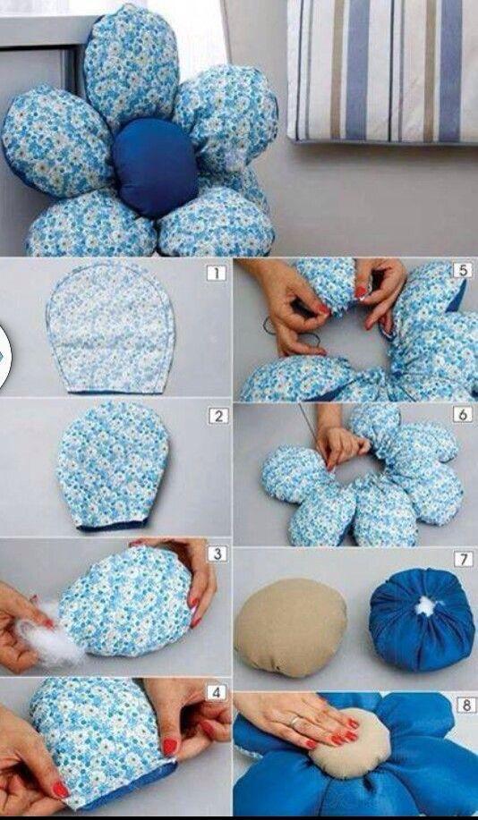 almofadas divertidas tecido flor