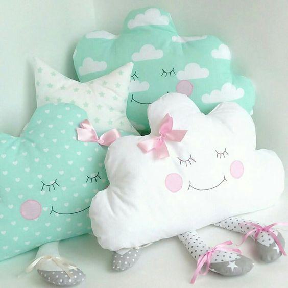 almofadas divertidas tecido nuvem