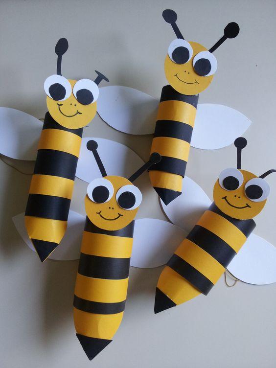 animais rolos papel higienico abelha