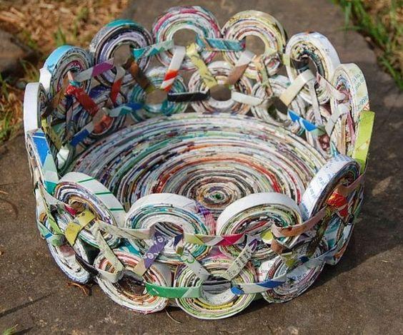 artesanato jornal decoracao cesto