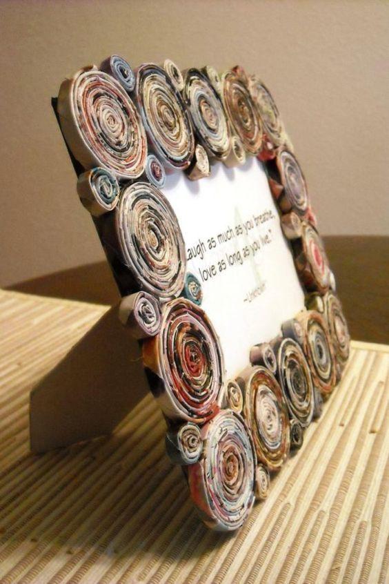 artesanato jornal decoracao moldura
