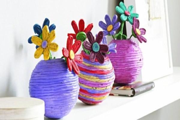 artesanato jornal vaso