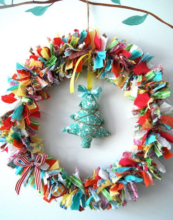 artesanato natal retalho guirlanda
