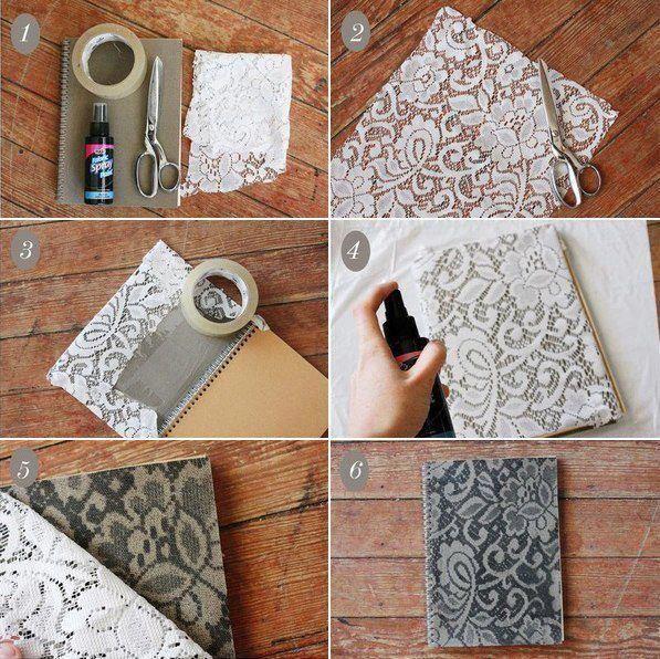 artesanato renda caderno