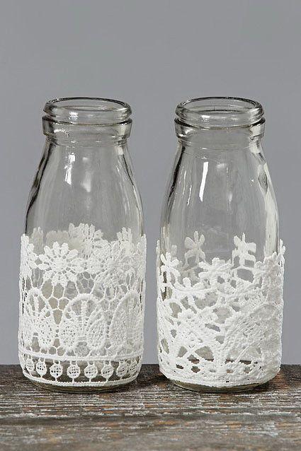 artesanato renda vidro