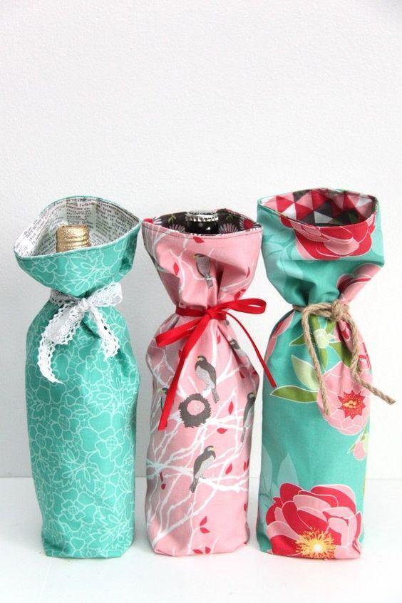 artesanato tecido porta garrafas