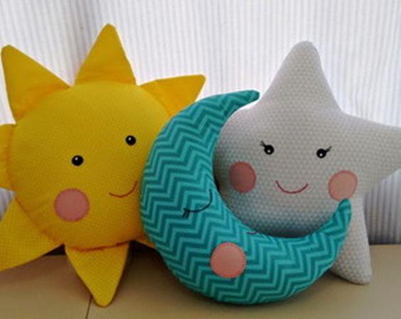 artesanato tecido quarto crianca almofadas