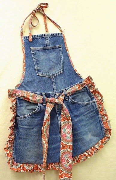 avental de jeans reciclados