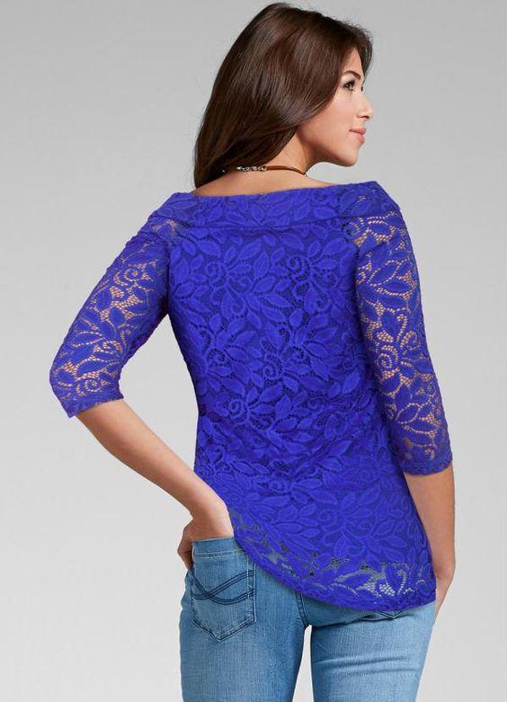 blusa renda manga azulao