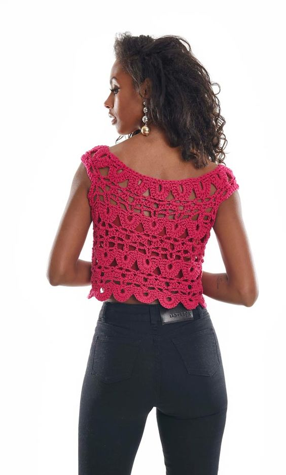 blusas croche croped rosa