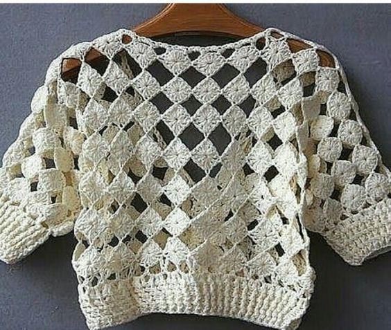 blusas croche simples quadrado