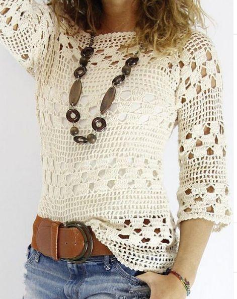 blusas croche simples