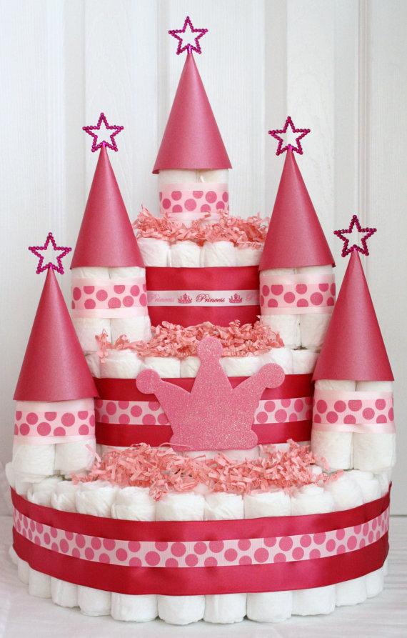 bolo de fraldas castelo princesa