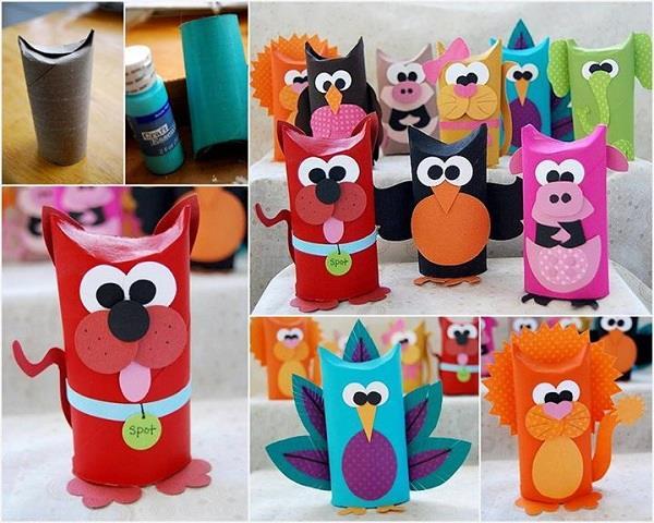 brinquedos rolos de papel animais