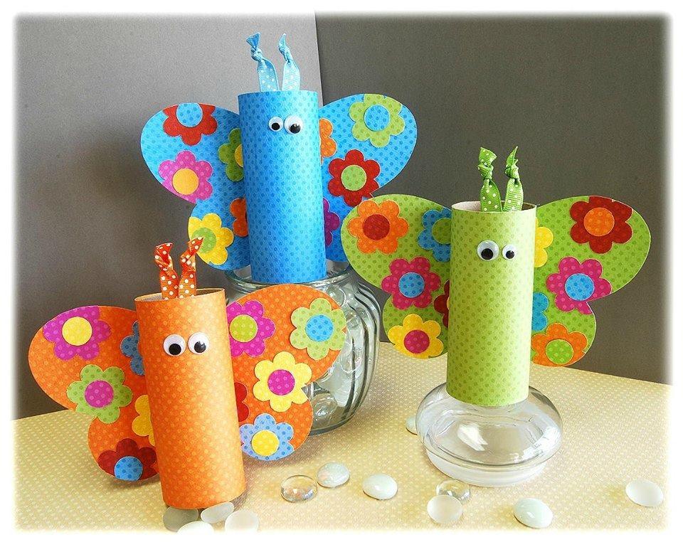 brinquedos rolos de papel borboletas