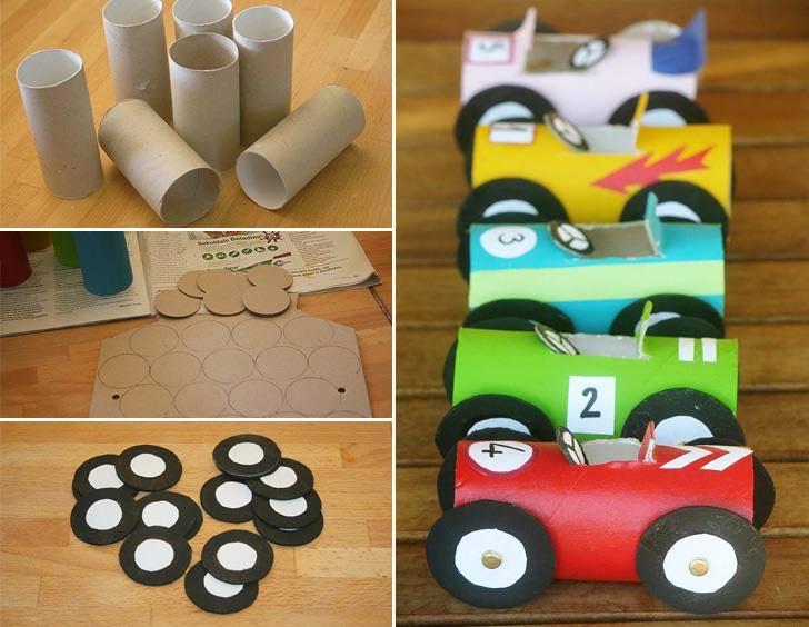 brinquedos rolos de papel carros
