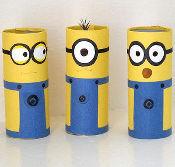 brinquedos rolos de papel minions