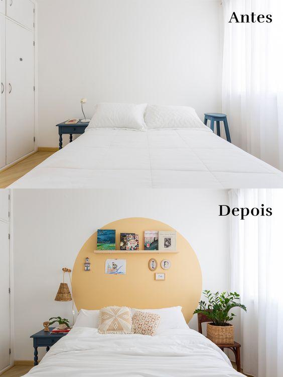 cabeceira de cama pintada