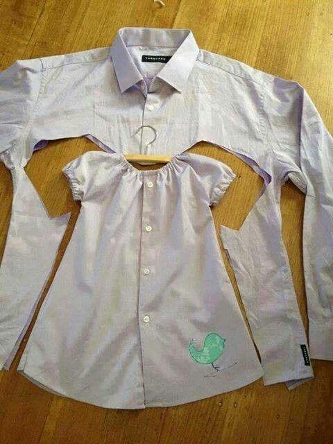 camisa transformada em vestido