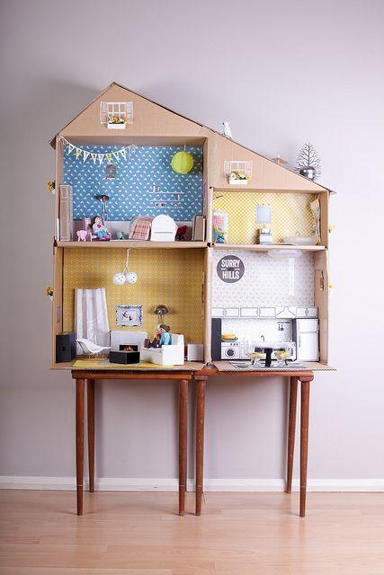 casa bonecas papelao simples