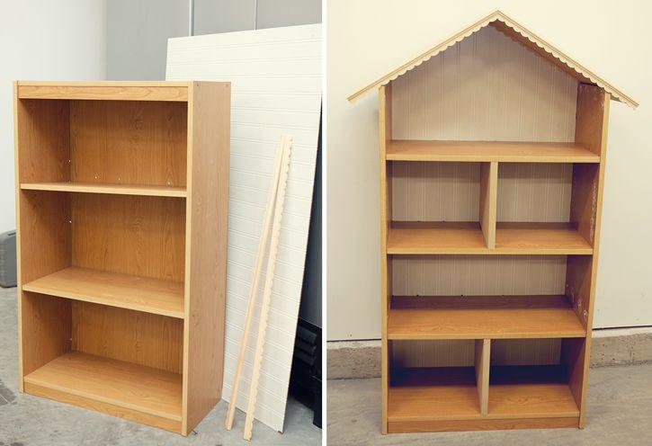 casinha bonecas feito com armário de estantes