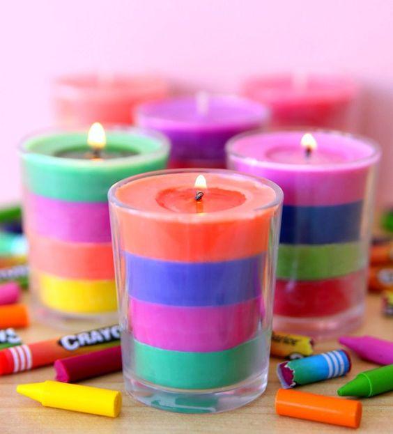 como fazer velas coloridas giz cera