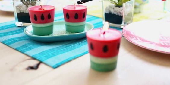 como fazer velas coloridas melancia