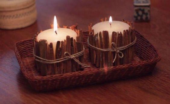como fazer velas decoradas canela