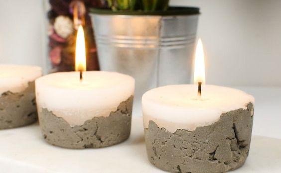 como fazer velas decoradas cimento