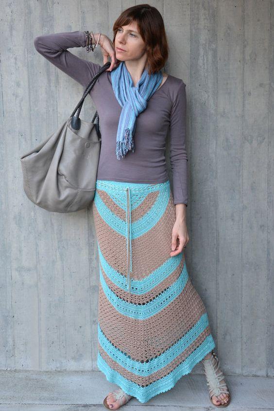 como usar saia longa croche 1
