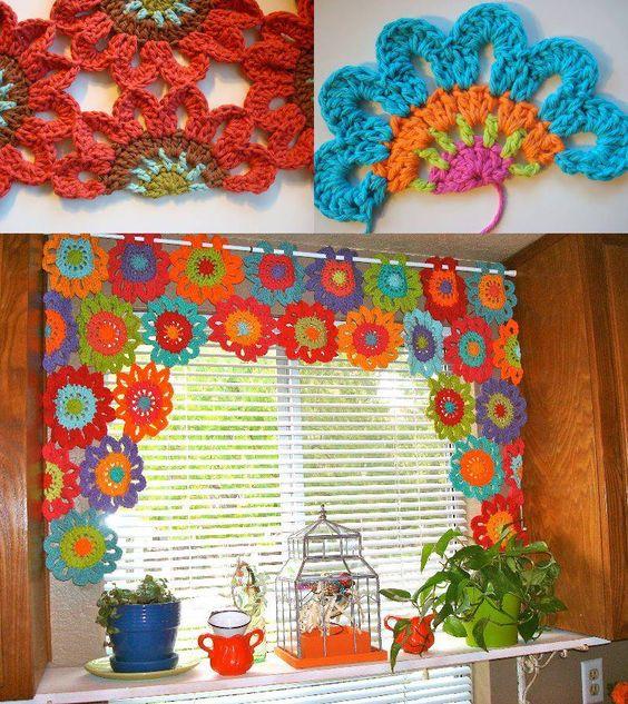 cortinas para a cozinha em croche