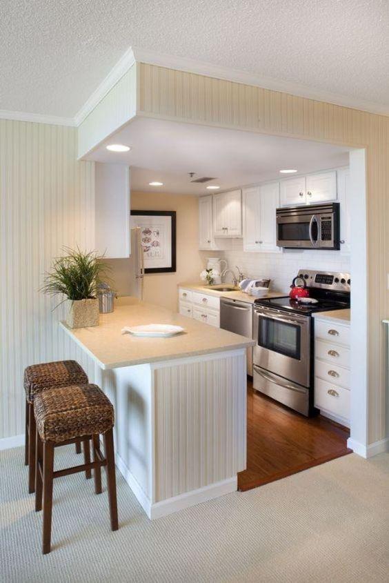 cozinha pequena decorada branca