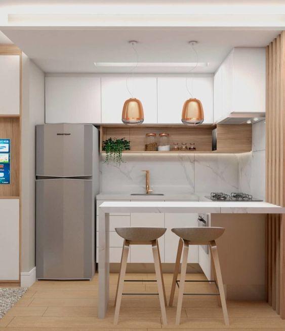 cozinha pequena decorada madeira