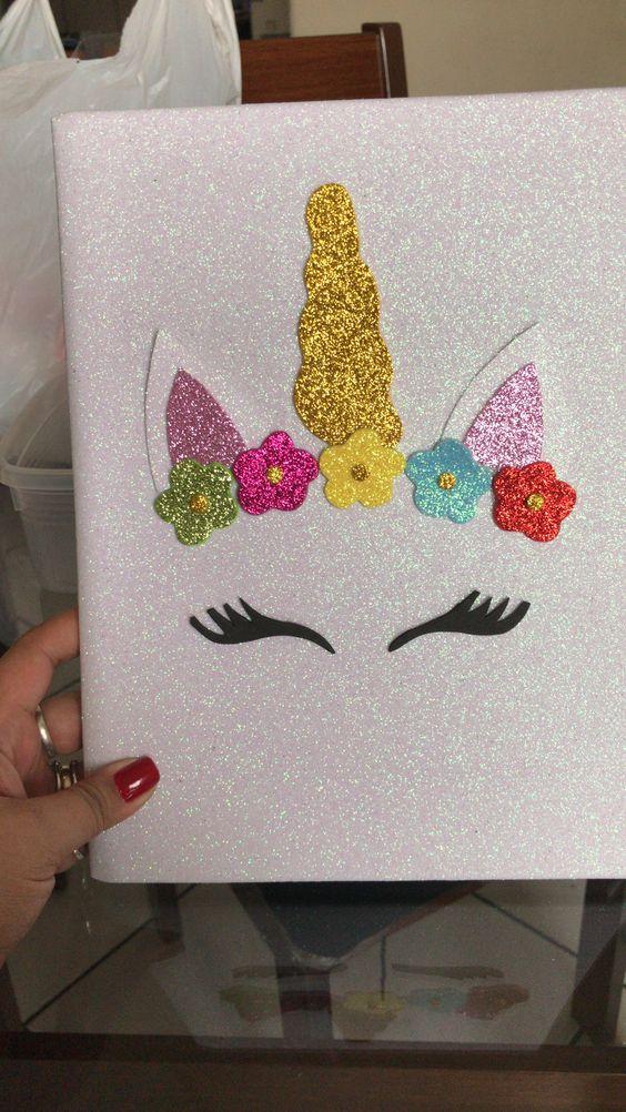 customizar cadernos eva unicornio glitter