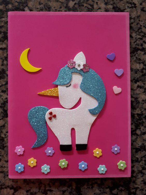 customizar cadernos eva unicornio