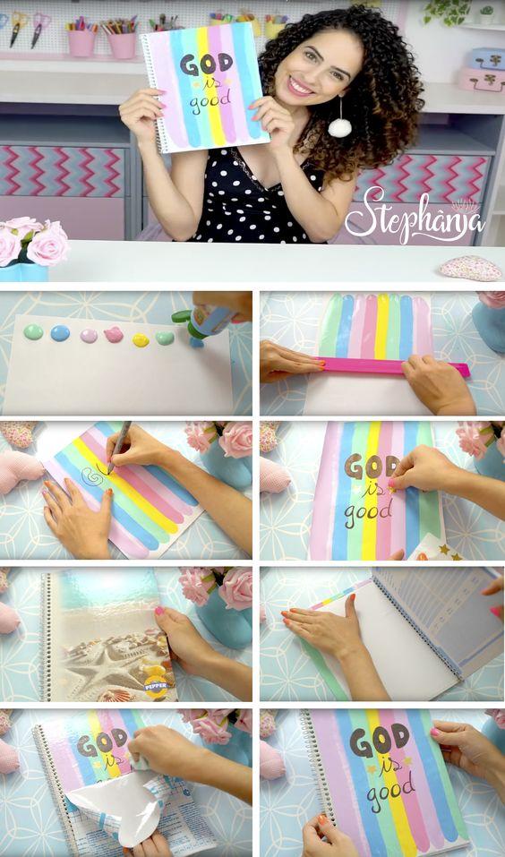 customizar cadernos passo passo arco iris