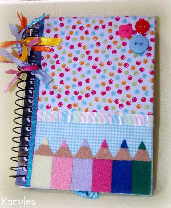 customizar cadernos tecido fitas