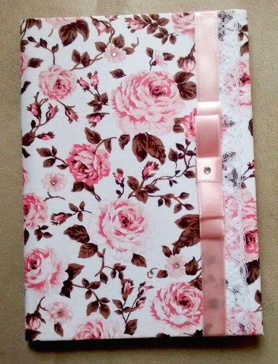 customizar cadernos tecido rosas