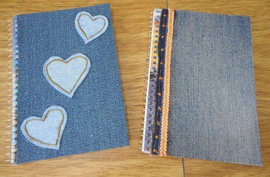 customizar cadernos tecidos jeans